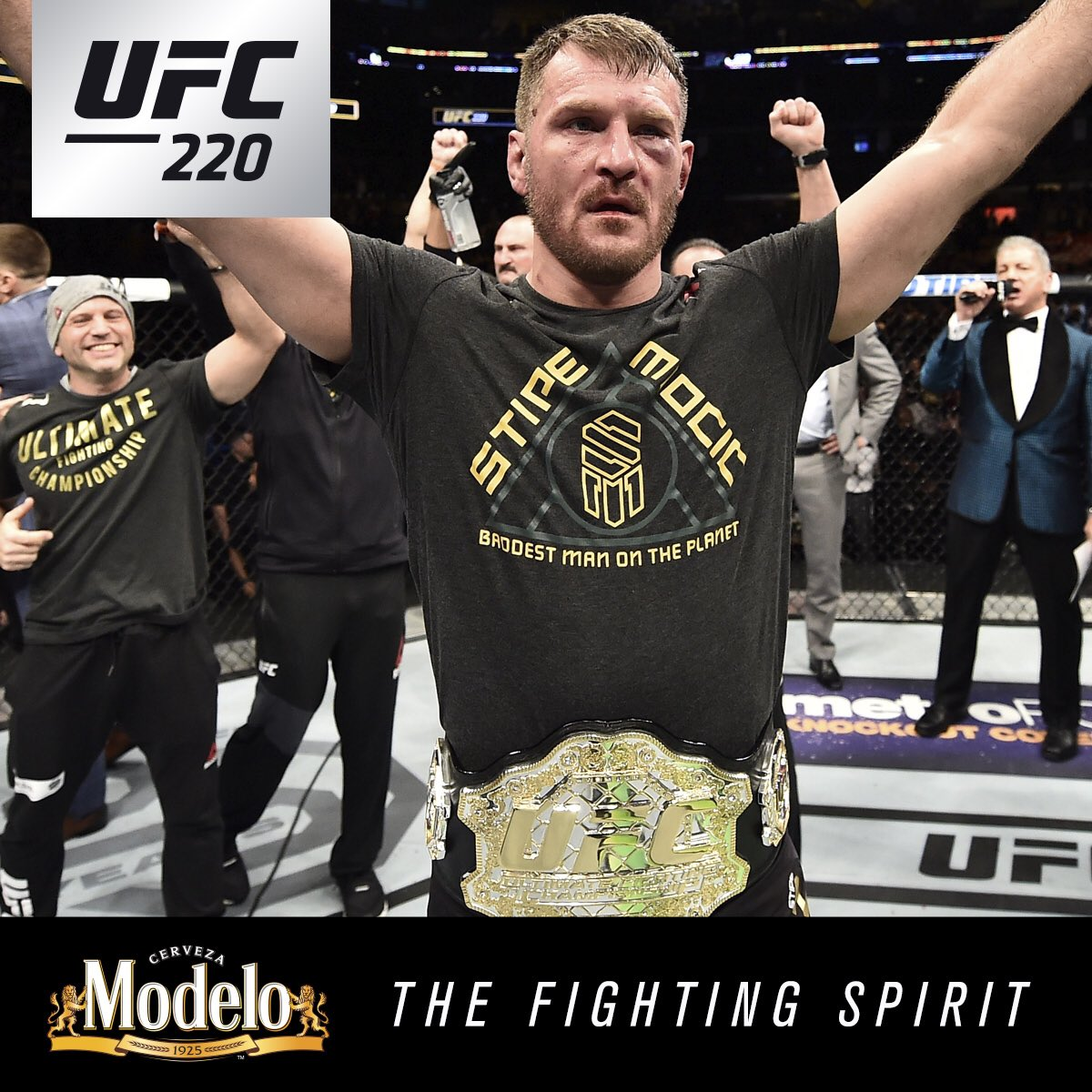Records and Redemption! The #FightingSpirit was on full display at #UFC220 as @StipeMiocicUFC and @DC_MMA heard #AndStill in Boston! @ModeloUSA