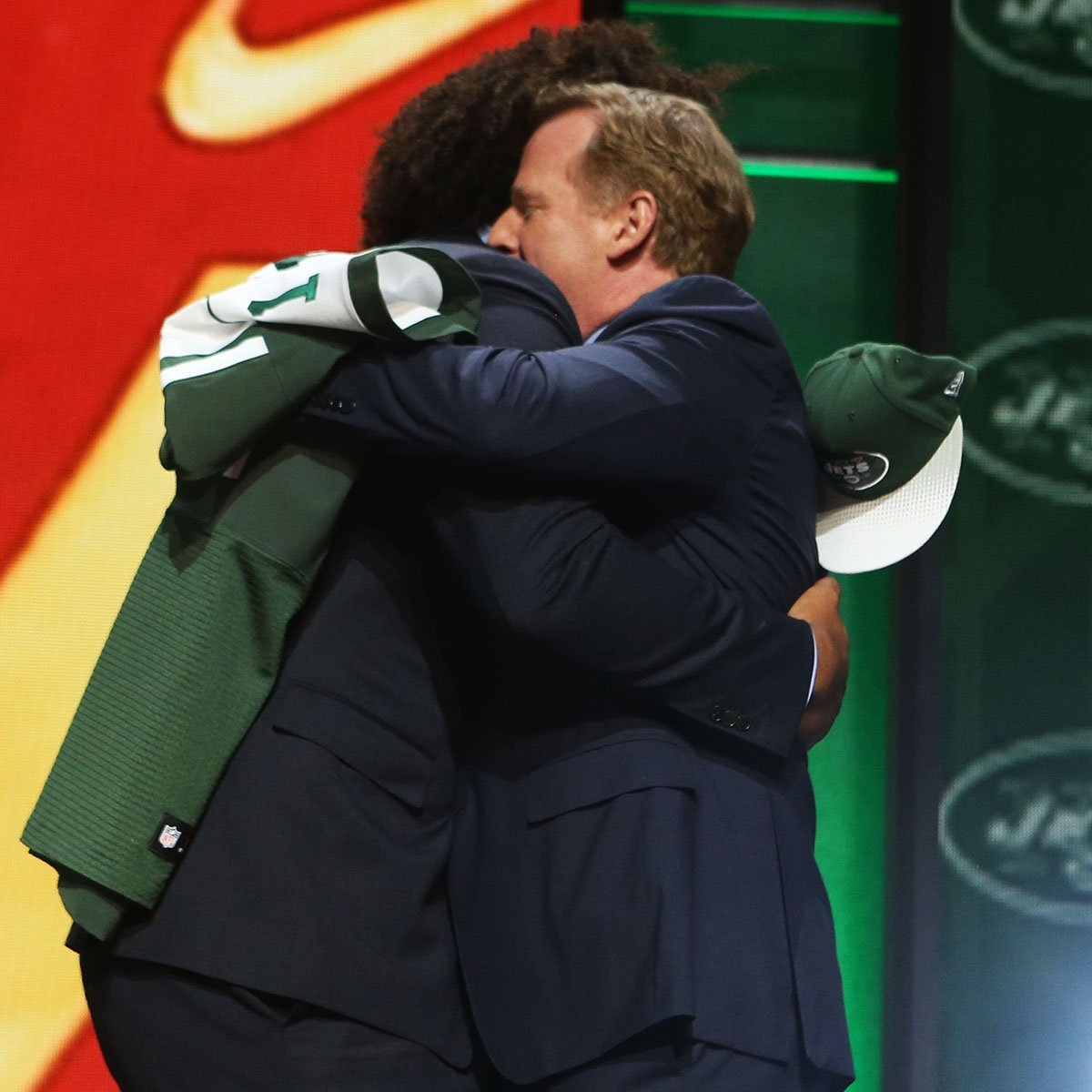 Happy #NationalHugDay!   Who will be the 6th pick hugging @nflcommish this year? #NFLDraft