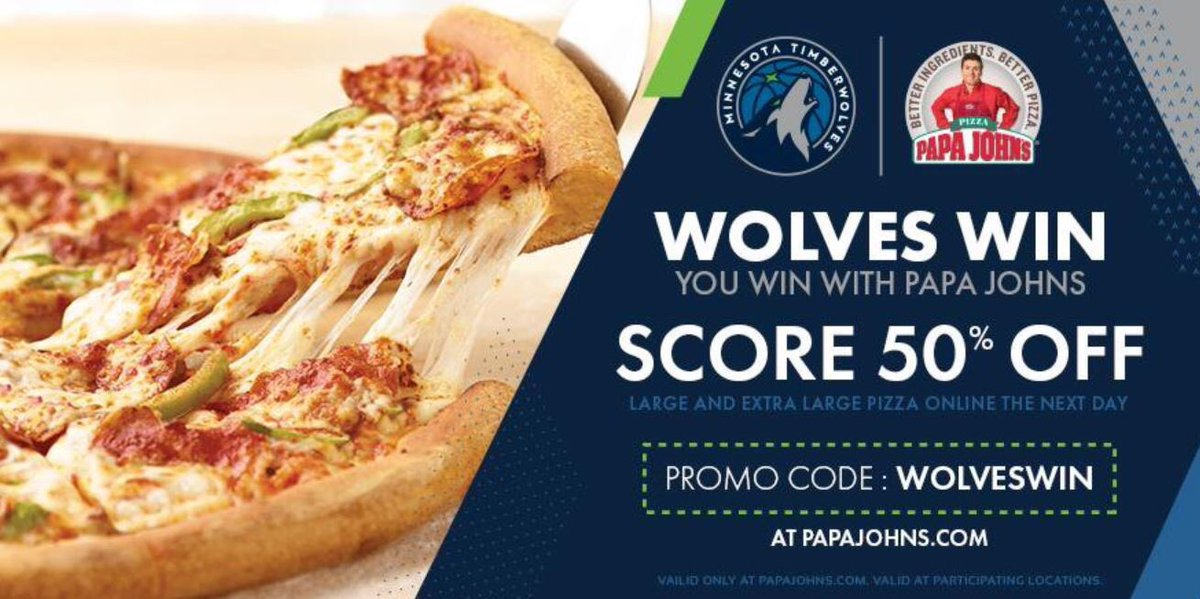 Looking for some food to bring to your Vikings watch party? 🍕  Use promo code WOLVESWIN for 50% off pizza today at @papajohnsmn thanks to our win last night over the Raptors!