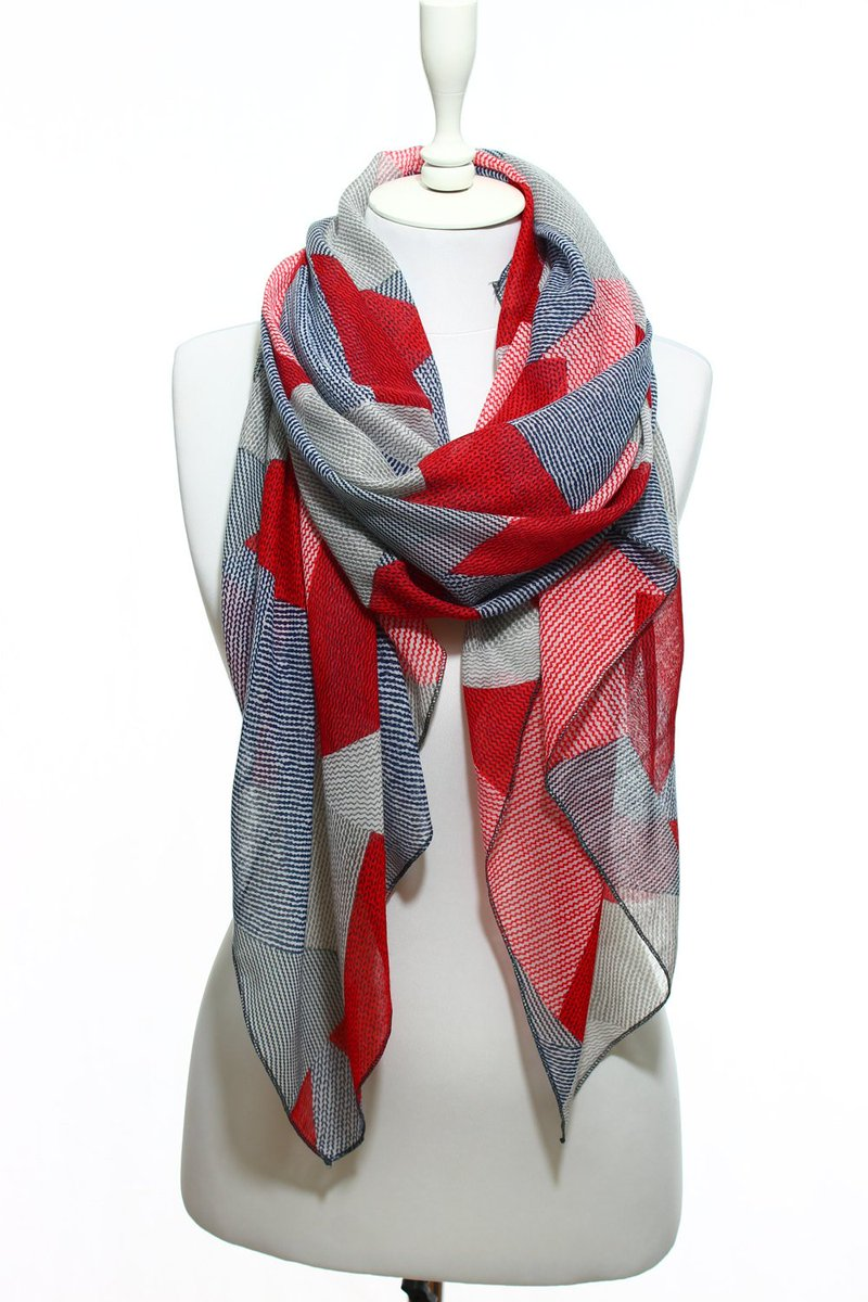 ... Red Navy Beige Zig Zag Geometric Print Lightweight Scarf Spring Summer  Woman Fashion Accessory Scarves Women Gift Ideas For Her Him Mom ... 0a6d2c2f3