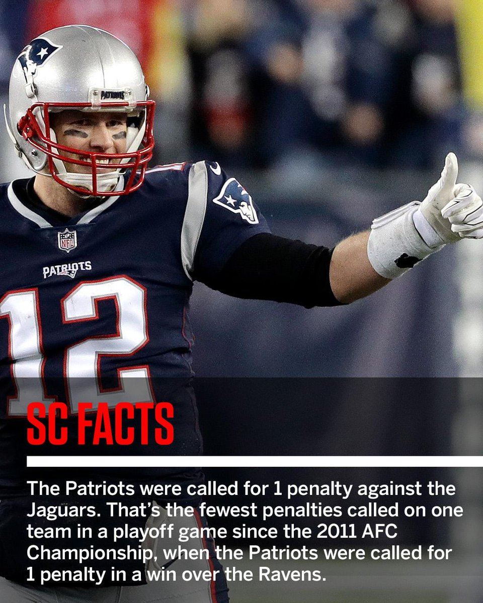 The Patriots were called for just 1 penalty Sunday. #SCFacts https://t.co/zbfp5c0hyi