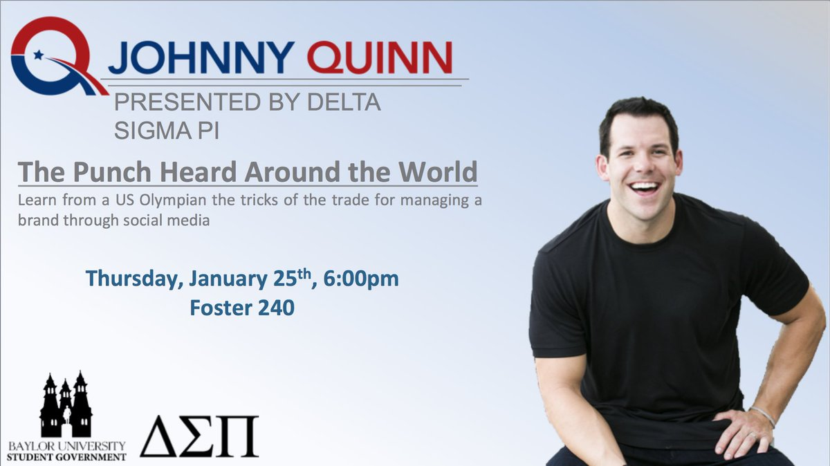 .@Baylor University, I'm coming to you this Thursday at 6:00 PM! See you at my keynote! #JohnnySpeaks