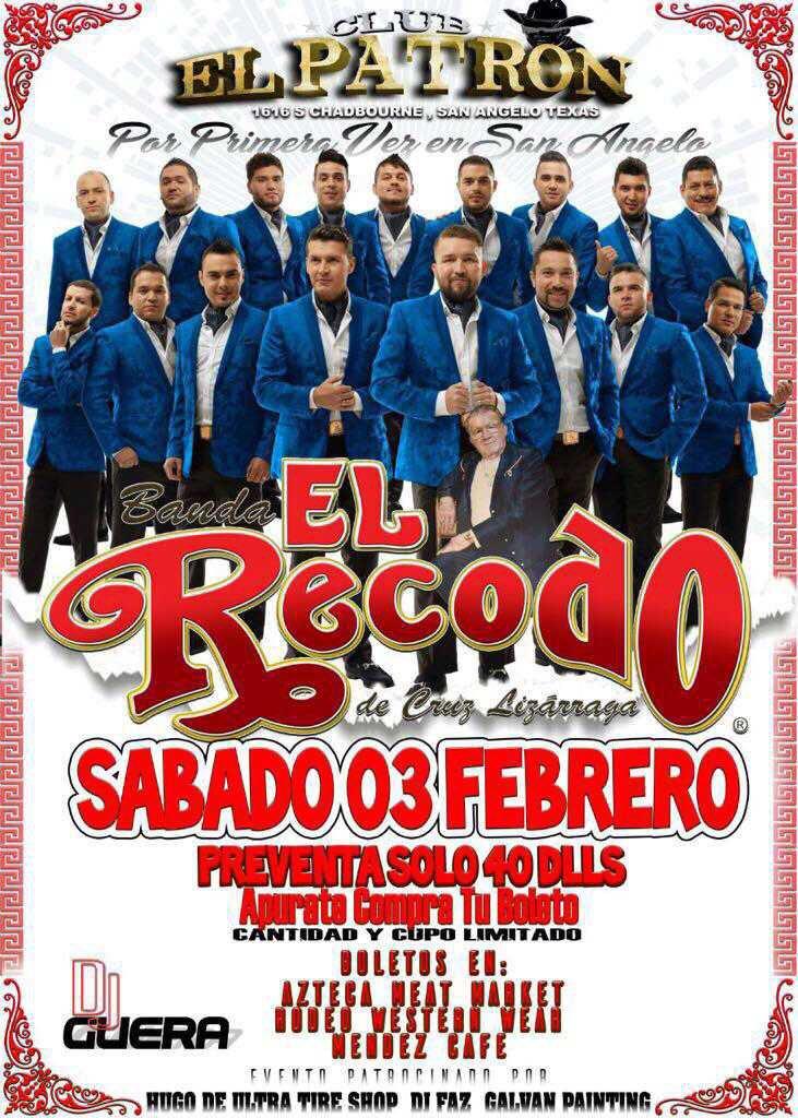 Próximo 03 de febrero nos vemos en el Club El Patrón de San Angelo, Texas #Tour80Aniversario #Recodo80Aniversario https://t.co/bRU4BrjCYT