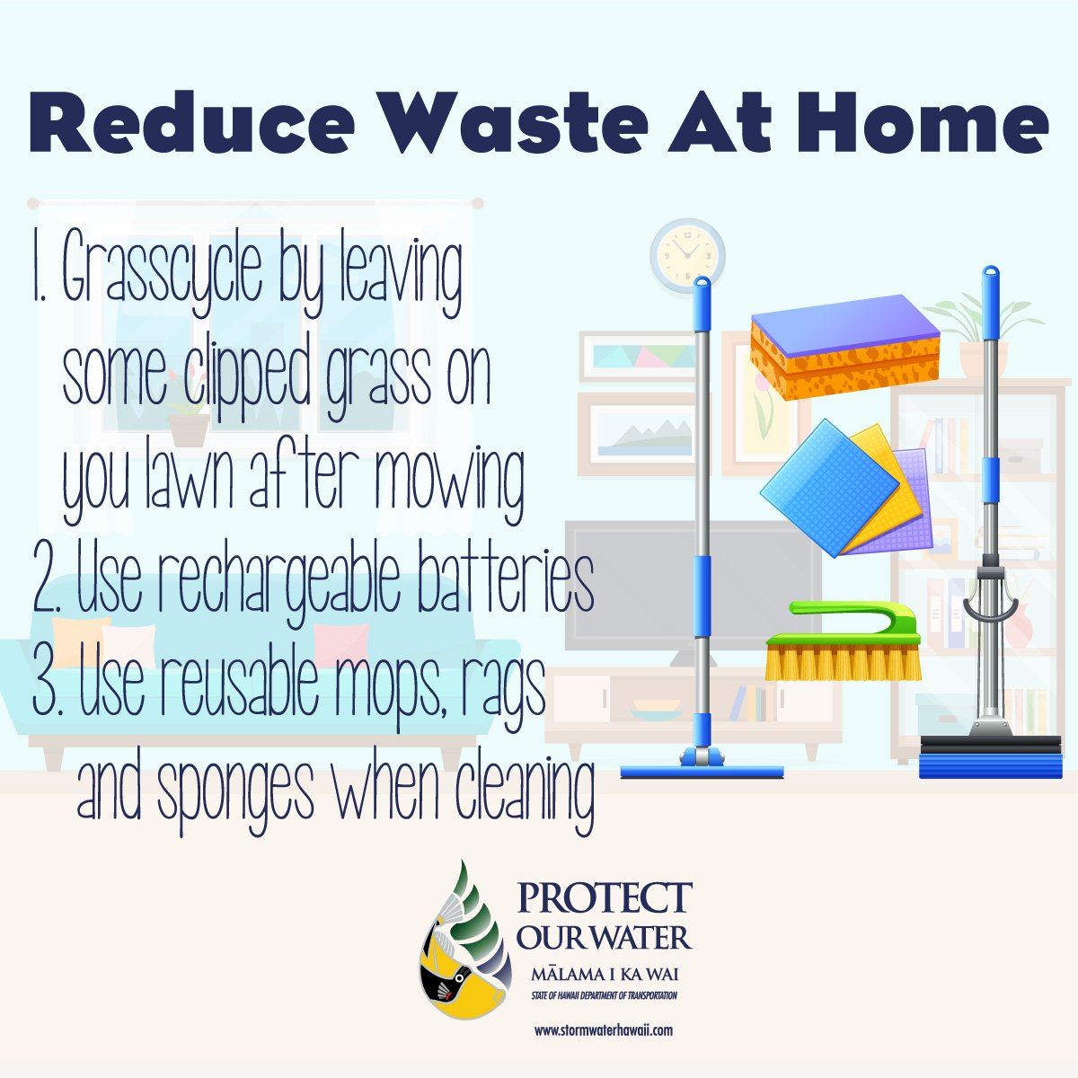 Trash reduction can start at home! Reduce the amount of waste at home with these three easy steps. #trashreduction #reduce #reuse #recycle #hometrashreduction #homewaste #TrashFreeHawaii #protectourwater #StormWaterHawaiipic.twitter.com/DYEhPeqSxj