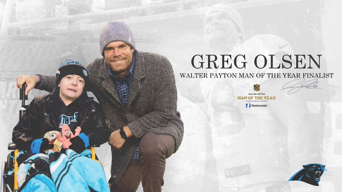Panthers Greg Olsen named finalist for Walter Payton NFL Man of the ... 705fbf840213