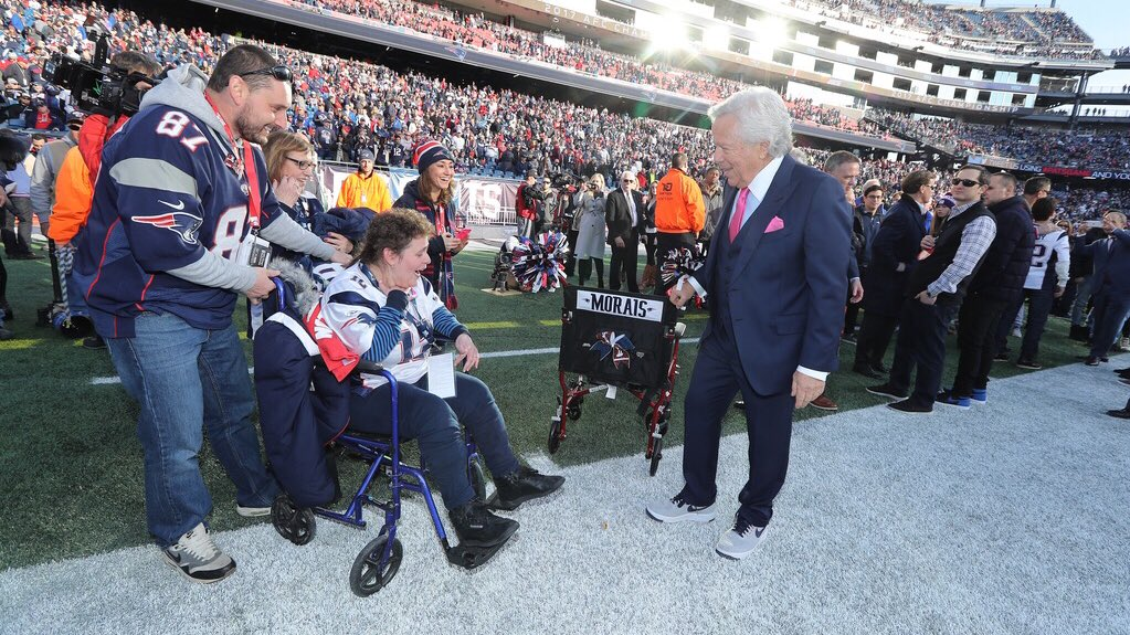 Last week, Cindy Morais' wheelchair was missing after the game.   This week it was found and returned, and today Robert Kraft surprised her with a new #Patriots themed wheelchair.