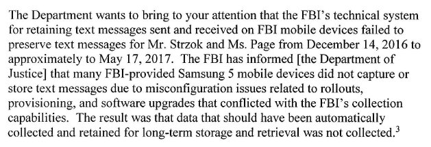 Big development in Trump-Russia probe. FBI tells Congress it has lost Strzok-Page texts between Dec 2016 and May 2017. Lot of critical events happened between those dates. FBI claims technical glitch. From DOJ letter to GOP Sen Johnson: