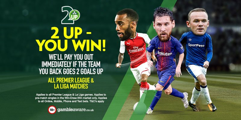 2 Up, You Win! We pay out immediately if your team goes two goals up. Applies to all Premier League and La Liga matches!   https://t.co/3QOfve5Z4T