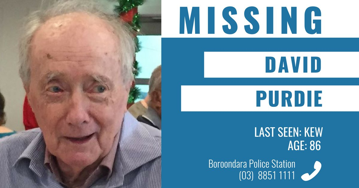 Police are appealing for public assistance to help locate missing 86-year-old Kew man David Purdie. → https://t.co/ShhTYy0rrv