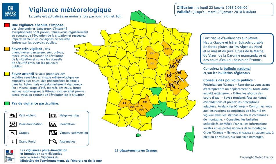 Treize départements sont en vigilance orange pour pluies-inondations, avalanches ou crues https://t.co/GaitqCEpSi