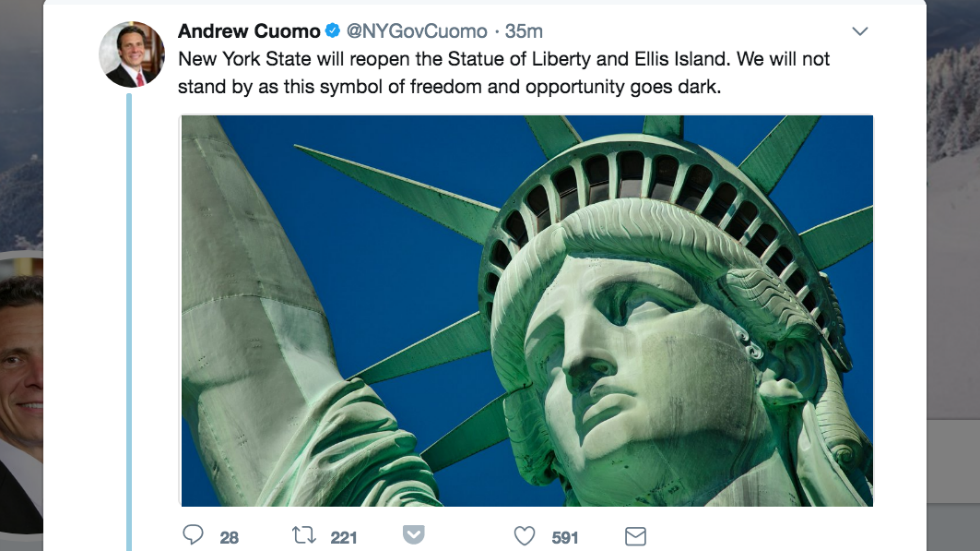NY Gov says Statue of Liberty will reopen despite shutdown: 'Her message has never been as important as it is today' https://t.co/AiYObl4TdP