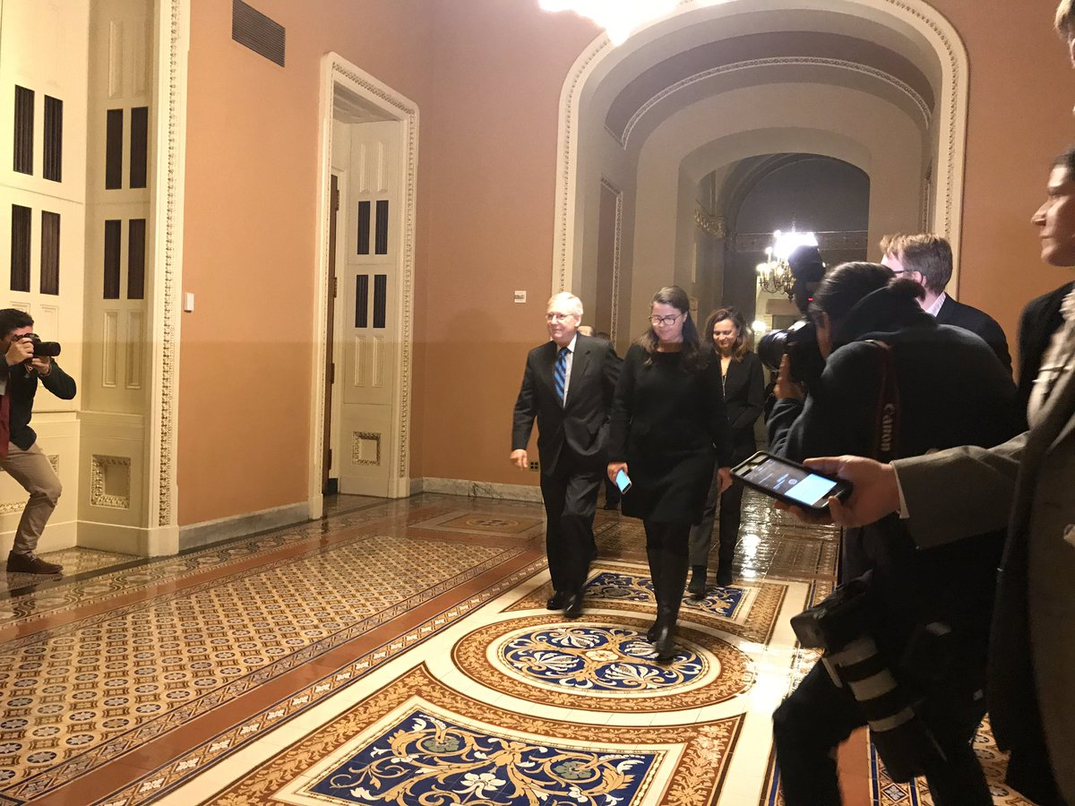 Senate Majority Leader McConnell answers no questions as he heads to the Senate floor to give an update on the #shutdown