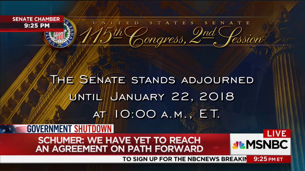 BREAKING: With no government shutdown deal reached Sunday night, US Senate is adjourned until 10 a.m. ET Monday.  Live coverage continues now on @MSNBC.