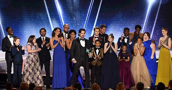 This Is Us took home the award for Outstanding Performance by an Ensemble in a Drama Series at the #SAGAwards and thanked their loyal viewers: 'We love you.' https://t.co/RyauSQMnBx