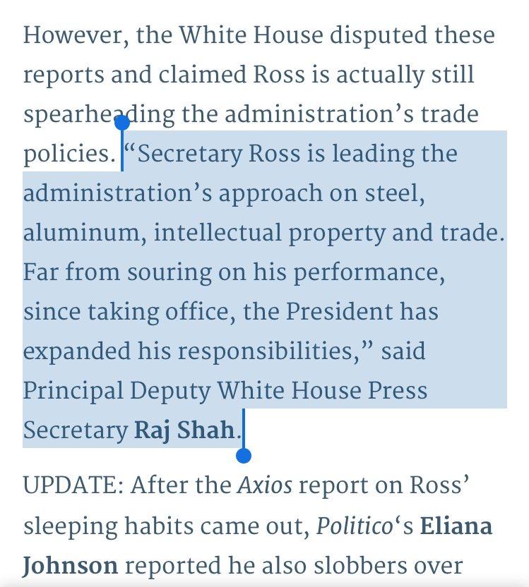 Dept of Non-Denial Denials: White House, responding to reports that Commerce Secy Wilbur Ross falls asleep in meetings (https://t.co/Ttbcl9jF37)