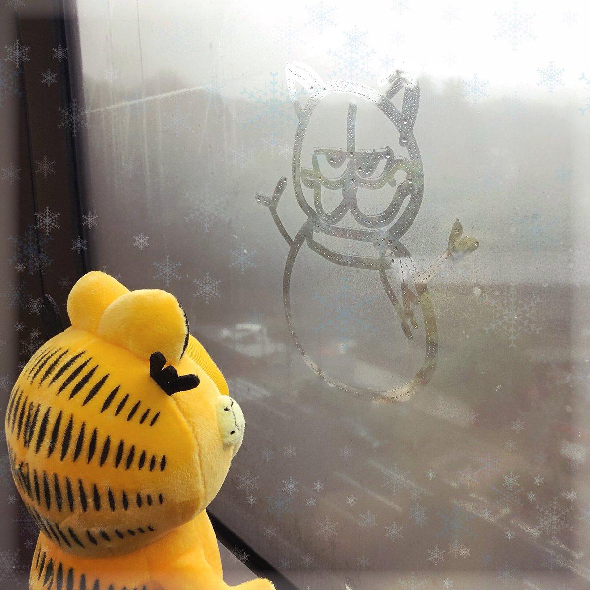 東京は雪☃️❄️こらこらガーフィールド。窓に雪だるま、描いたでしょ⛄️ #ガーフィールド #garfield