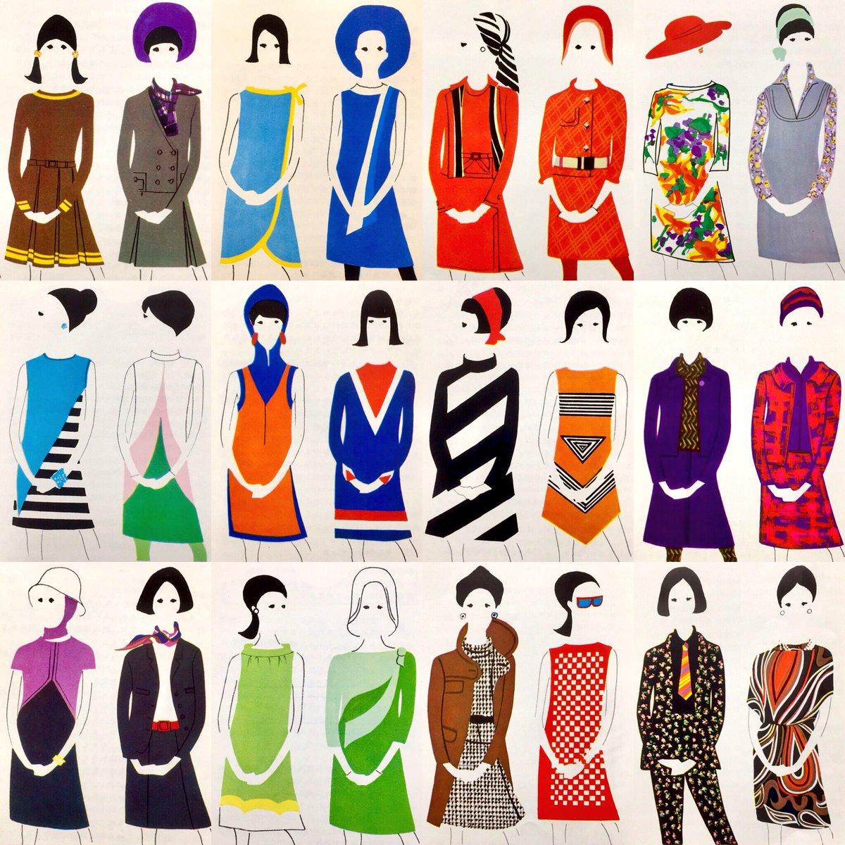 1964年〜1967年デザインのワンピース他ファッション・イラスト