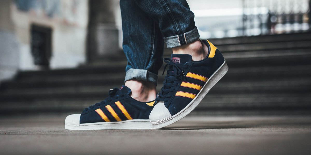 adidas Superstar Collegiate Navy/ Yellow Adiprene/ Red