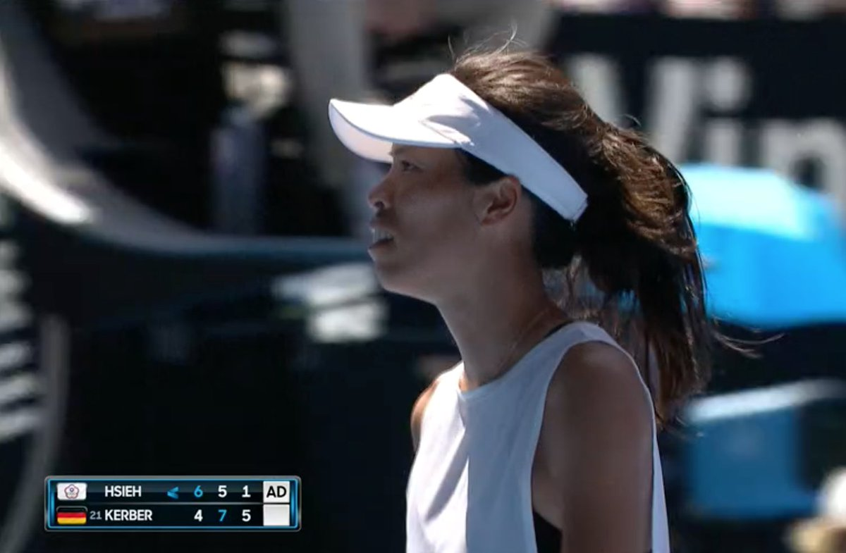 #Hsieh fighting until the very end, saving two match points, but #Kerber will serve for the match at 5-2.  Watch & bet on tennis at https://t.co/v2D6lAqb1J