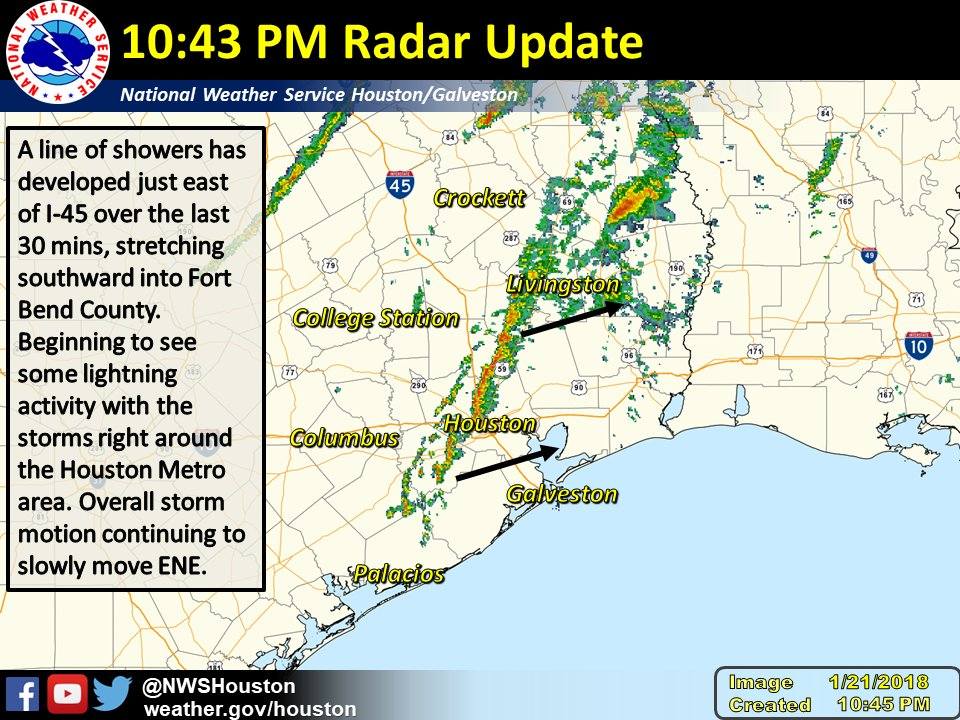 NWS Houston on Twitter 1045 PM Radar Update Continuing to monitor