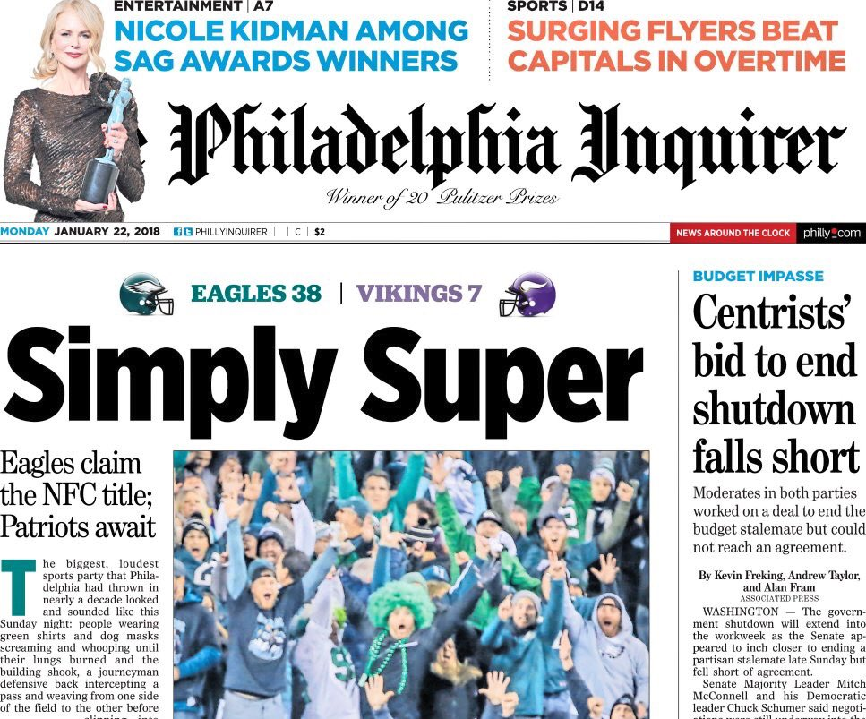 Monday's @PhillyInquirer front page: