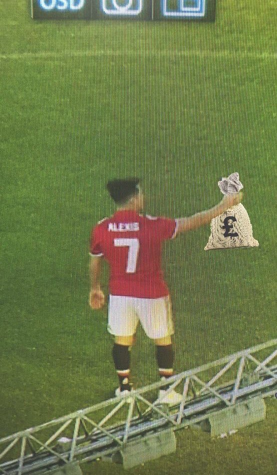 That exclusive first photo of Alexis Sanchez at Manchester United.   Since signing last night, he's already earned about the same as the national annual wage in the UK.