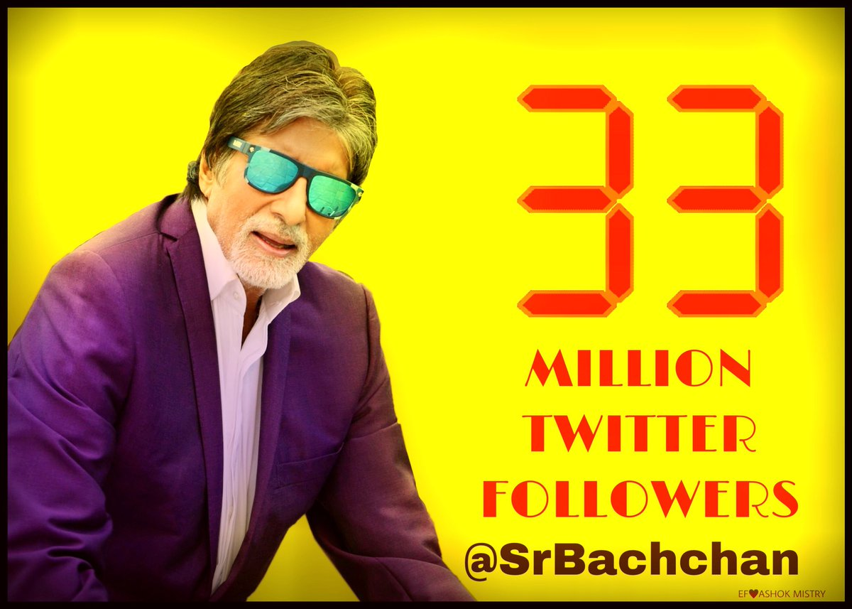 RT @ashokmistry4545: #AB33Million  BBBAADDUUMMBBAAA  Congratulations Sir @SrBachchan  Love you Sir 🌸👏🏻👏🏻🙏🏻🙏🏻🙏🏻🌷🌷🌷 https://t.co/r5iF6FbPjh