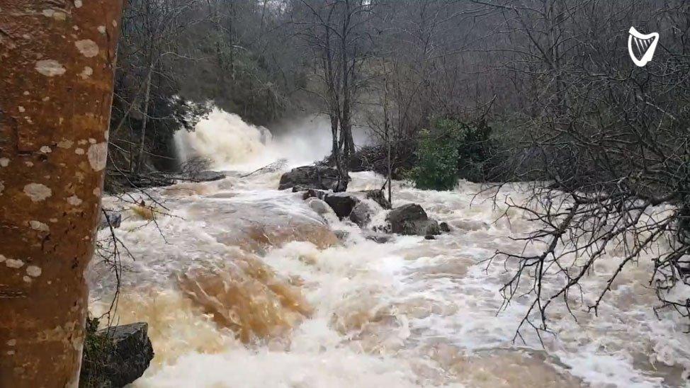 #WATCH: 'I've never seen it this bad' - Flooded Glenbarrow Waterfall raging down from Slieve Bloom Mountains https://t.co/KjXZeUPBGJ