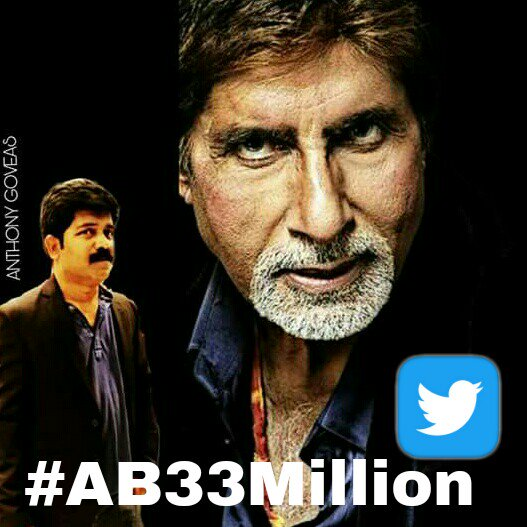 RT @AnthonyGoveas: Congratulations Sir.. @SrBachchan #AB33Million 👏👏👏👏👏😎😇😇😇 https://t.co/wffOmT9hCF