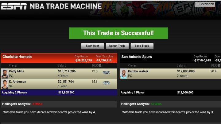 #TradeMachine #KembaWalker  #GoSpursGo #Buzzcity  (Also Spurs' first round pick to Hornets) https://t.co/cNvQ9ElqTI