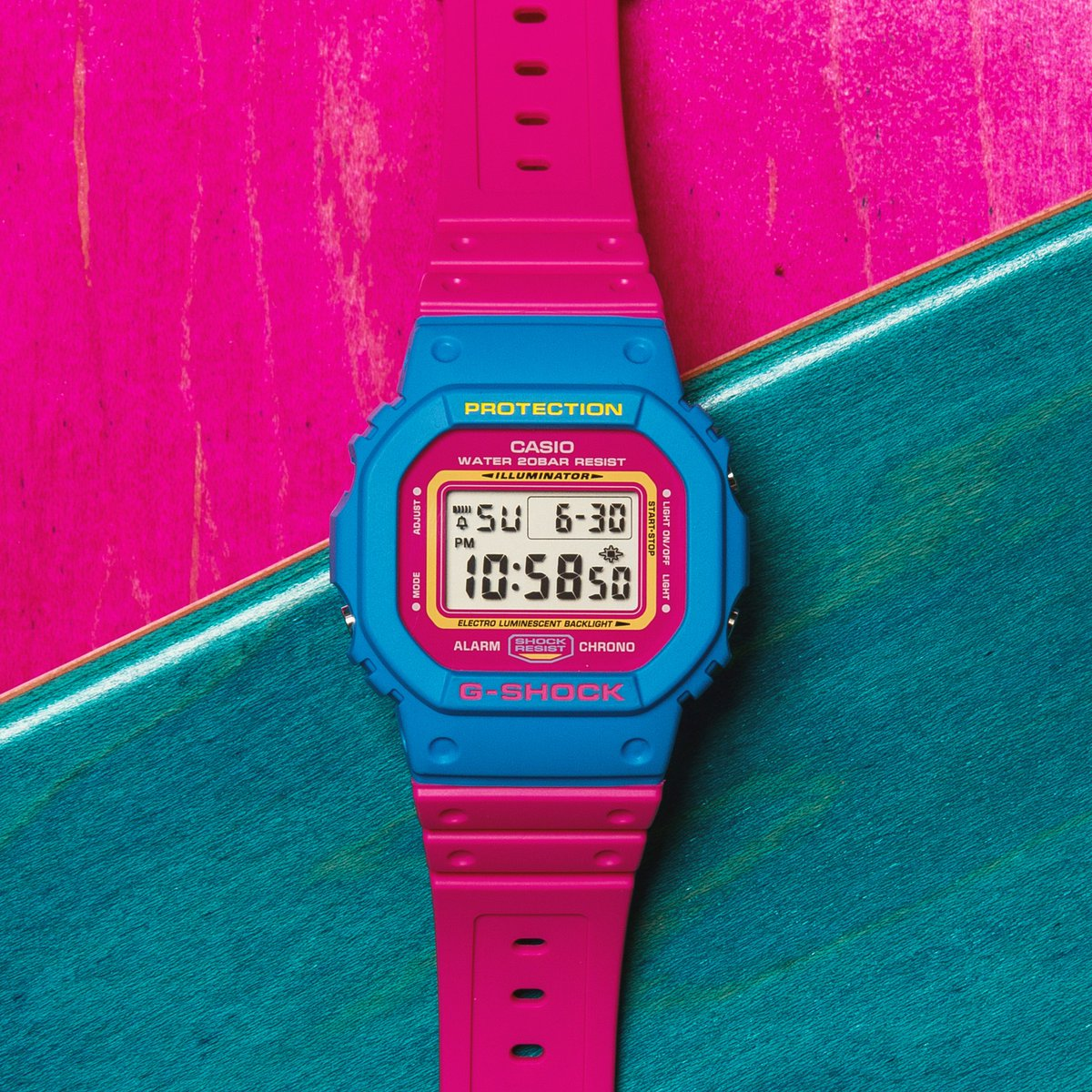 911fc247a ... 80's street fashion, when the first G-SHOCK hit the scene. DW-5600TB-4A  has white bezel with red bands. DW-5600TB-4B have an eye-catching color ...