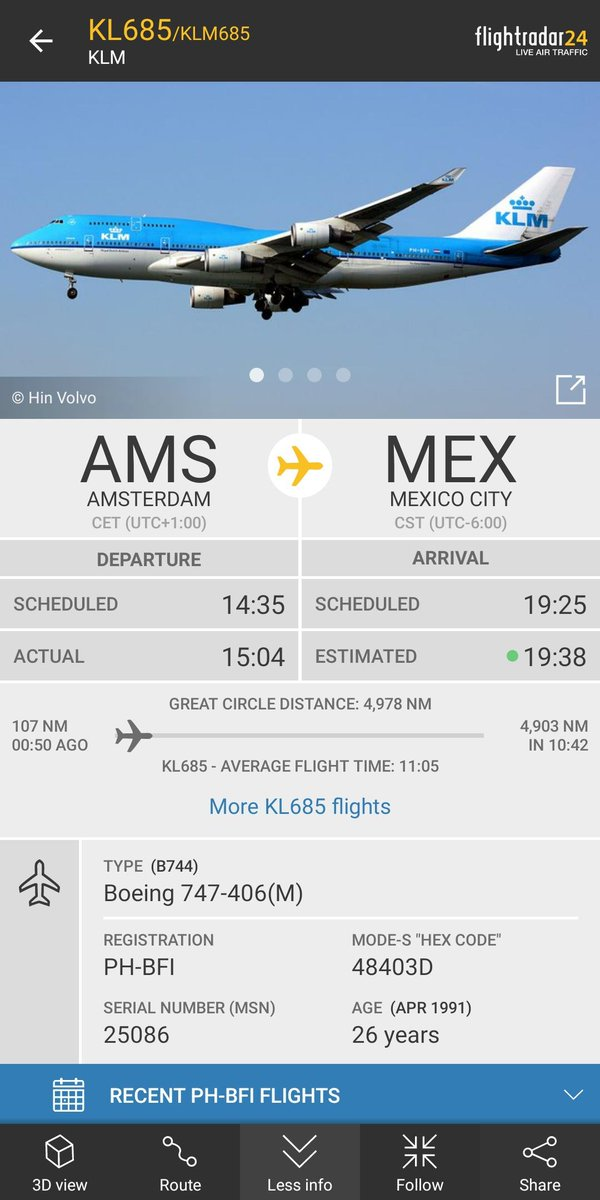 KLM flight #KL685 from Amsterdam to Mexico City squawked 7700 (general emergency) and is returning to Amsterdam. https://t.co/EHJSfyXx6n Reason is currently unknown.