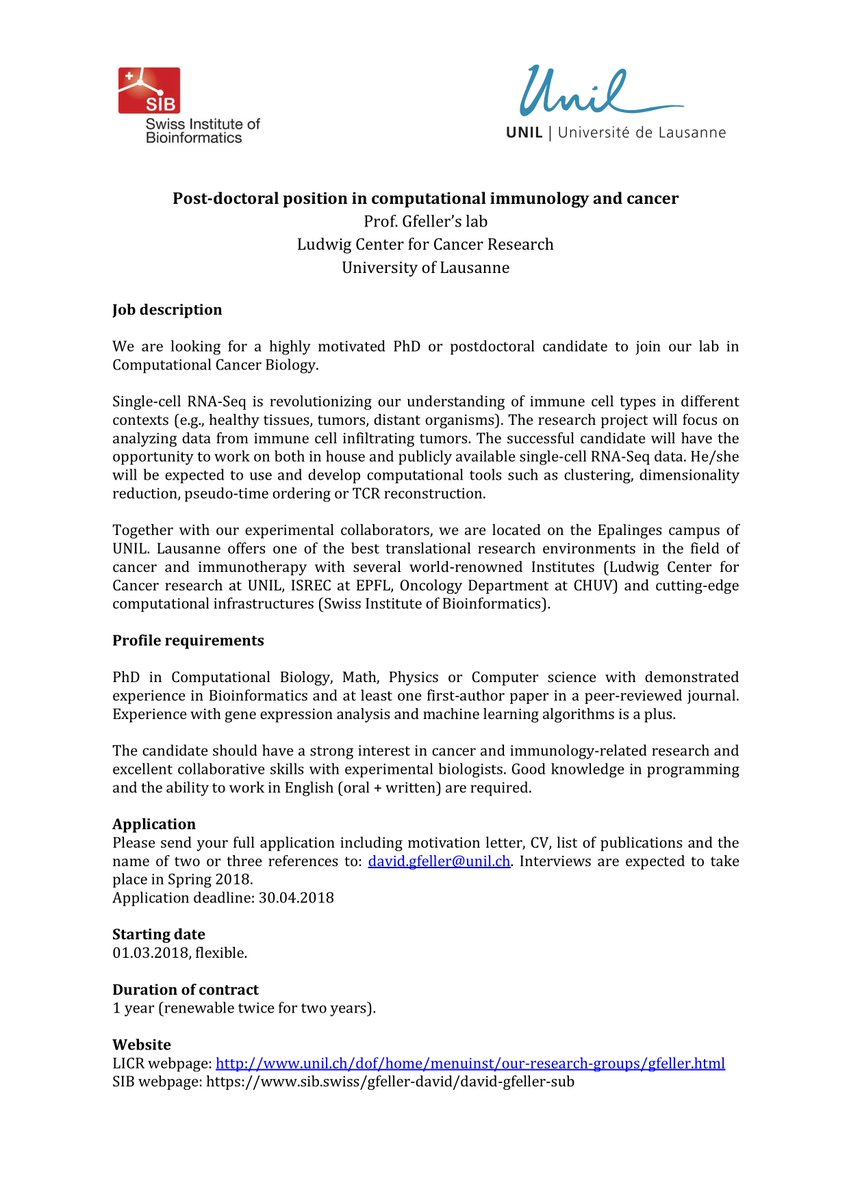 David gfeller on twitter new post doc position in my group at unil david gfeller on twitter new post doc position in my group at unil to work in computational immunology and cancer research spiritdancerdesigns Choice Image