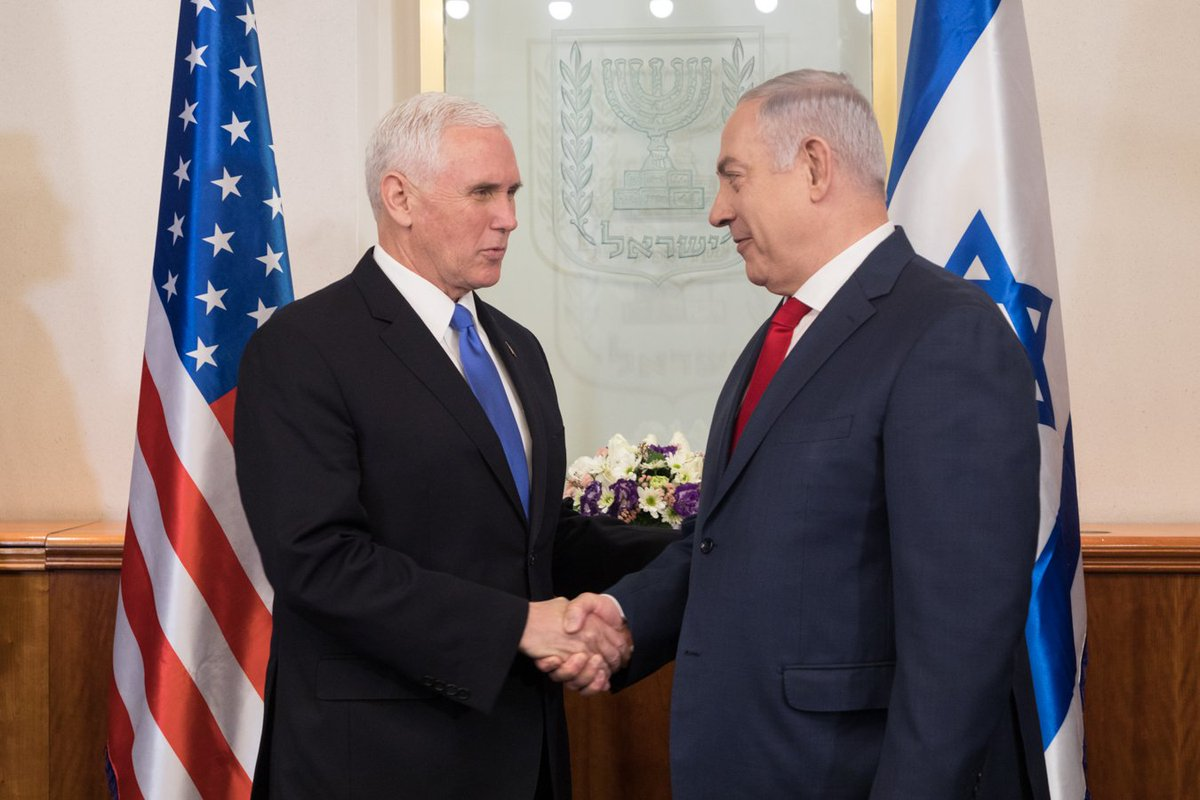 An honor to be in Israel w/ Prime Minister @netanyahu. Important discussions about the opportunity for peace in the region and the security & prosperity of both Israel & the U.S. We continue to work tirelessly to strengthen the relationship between the U.S & Israel. #VPinIsrael