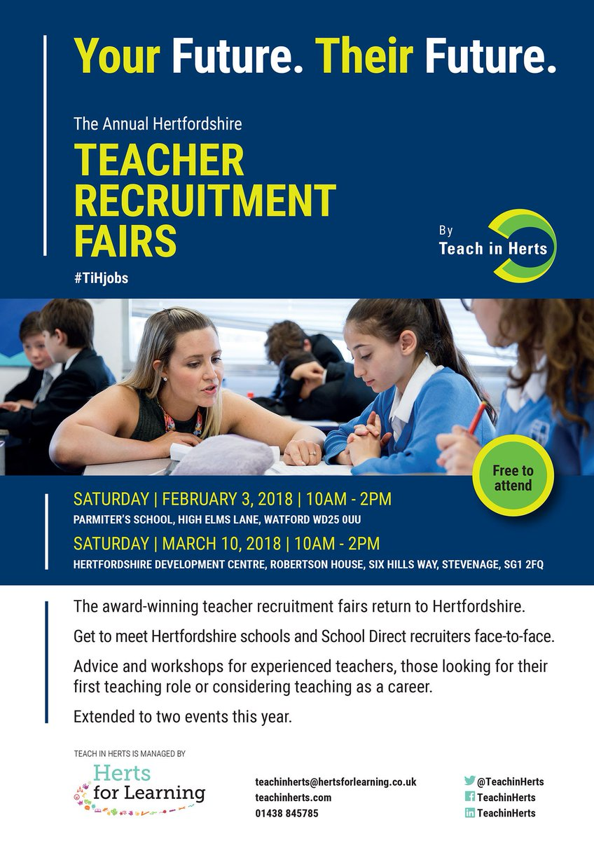 Teacher Recruitment Fair on Sat 3rd Feb, 10-2pm at @ParmitersSchool. The ideal event for new, experienced, returning qualified teachers or anyone interested in teaching as a career. Reps from Herts schools, TSAs and School Direct available to provide valuable information. https://t.co/UEqXGNVl8e