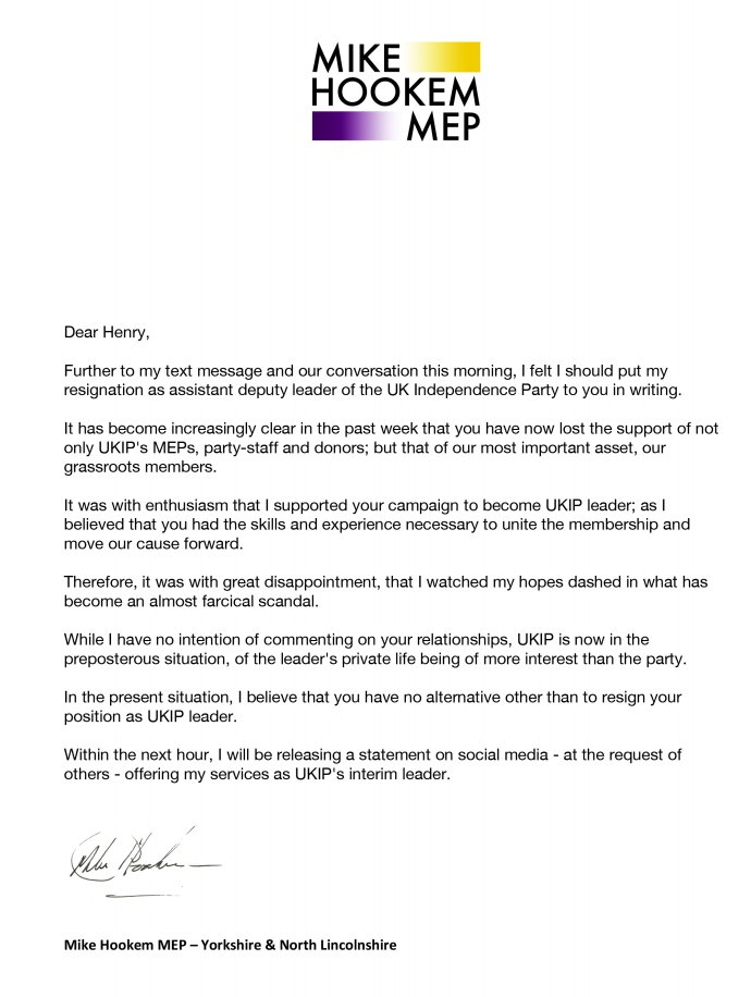 Mike Hookem appears to have resigned on Friday but no one really noticed