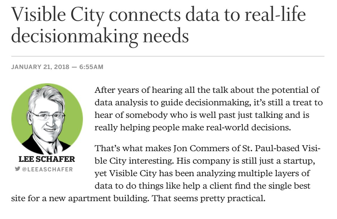 Our member @Visible_City has been analyzing multiple layers of data to do things like help a client find the single best site for a new apartment building. Pretty cool - and very practical: https://t.co/8vWunN1mO9