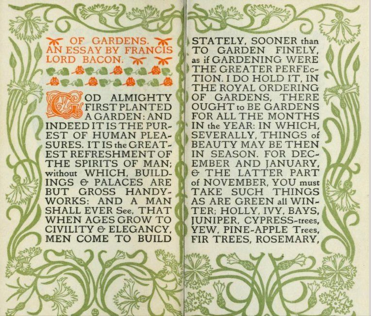 public domain review on twitter first pages of a beautiful art  first pages of a beautiful art nouveau edition of an essay on gardens by  the renaissance philosopher francis bacon who was born onthisday in