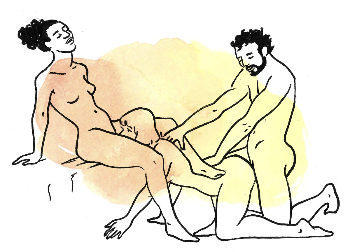 Different sexual positions in threesome sex action