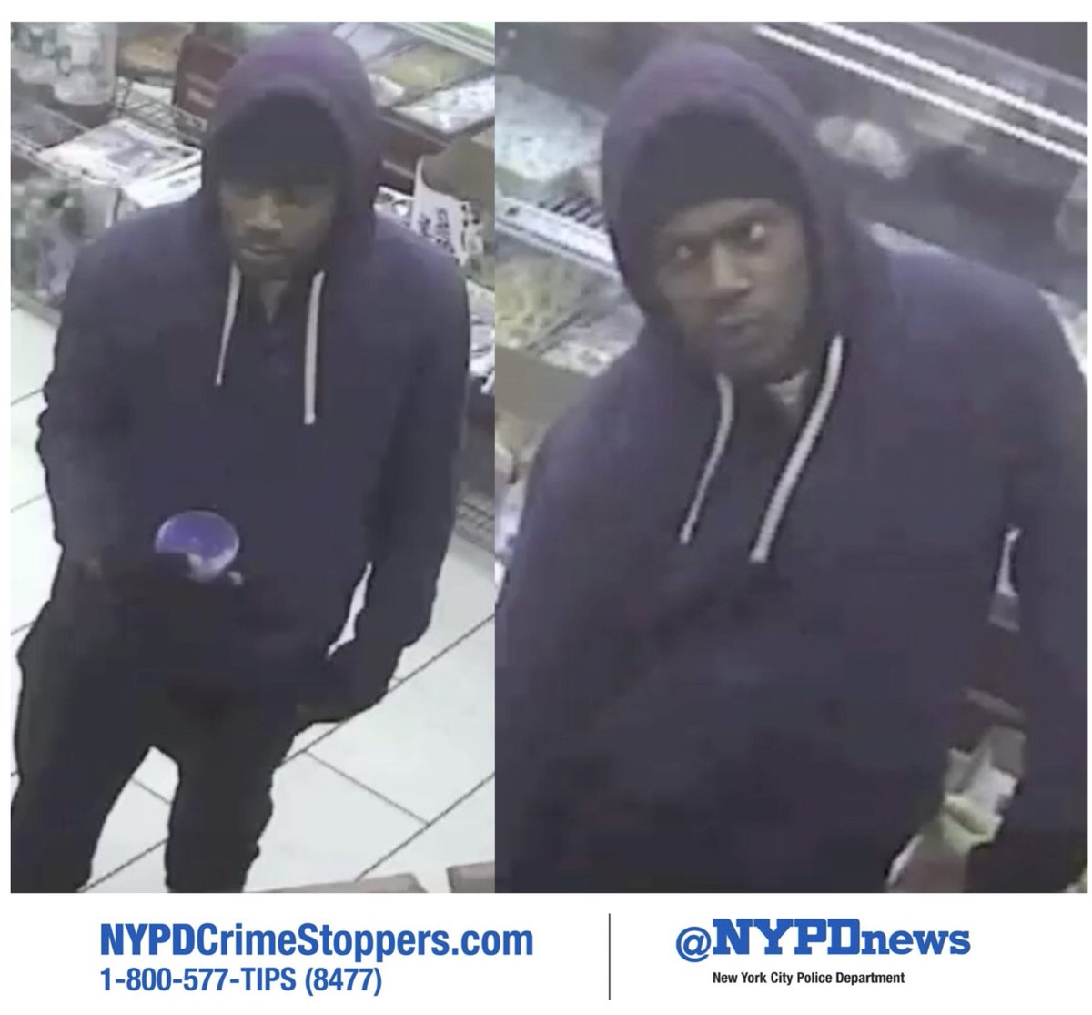 WANTED: Male/black/20's for multiple armed robberies in Brooklyn. Help ID this person, ☎️ #800577TIPS