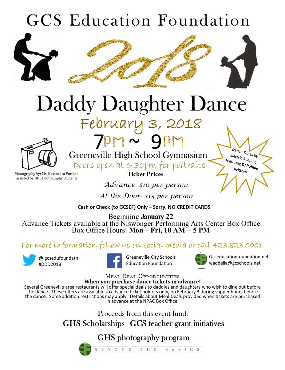 Advance tickets for the 13th Annual GCSEF Daddy Daughter Dance will be available at @npacgreeneville beginning at 10am today!  sc 1 st  Twitter & gcs.edu.foundation on Twitter: