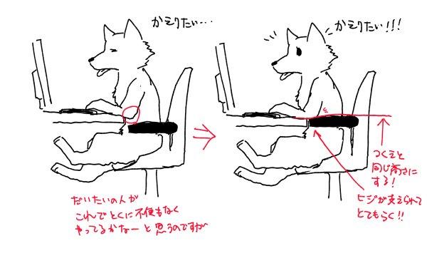 偶然調べ物しててデスクチェアの「肘置き」の正しい使い方を見かけて、やってみたらたったこれだけですごい腕が楽になったのでみんなもやってみてほしいという話