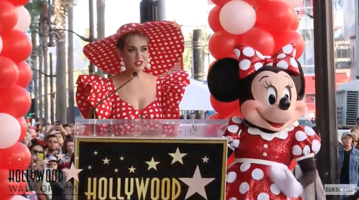 .@katyperry on hand as Minnie Mouse receives her star on the Hollywood Walk of Fame.