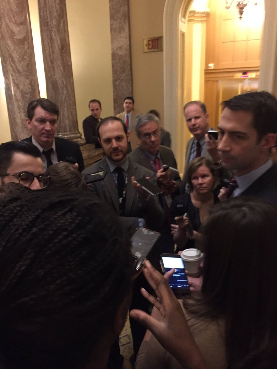 NOW: an Obamacare-repeal level of reporters waiting as senators arrive for sep GOP and Dem caucus meetings.