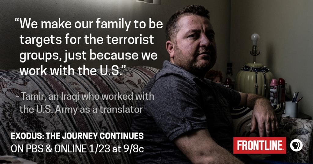 Tamir worked as a translator for the U.S. Army in Iraq. He now lives in Nebraska with his wife, but the rest of his family lives in a tent in Iraq. See their story on 1/23 in 'Exodus: The Journey Continues.' https://t.co/oYfDqBmtaB