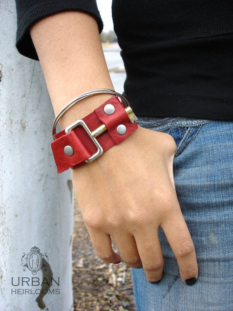 c6cc714e8e ... Red Leather Cuff with Mod Vintage Key MEDIUM to LARGE  http   etsy.me 2DXETrL  jewelry  bracelet  red  leatherkeycuff   leatherbracelet  urbanheirlooms ...