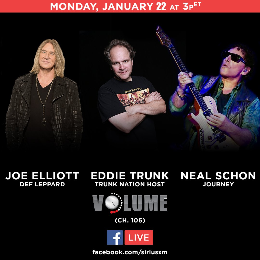 What would you ask these legendary rockers from @DefLeppard & ? Jo@JourneyOfficiale Elliott and  joi@NealSchonMusicn  LIV@EddieTrunkE this afternoon and they're taking your questions! Leave 'em below & watch live: !🤘🎸🎤https://t.co/j3e79V8E35