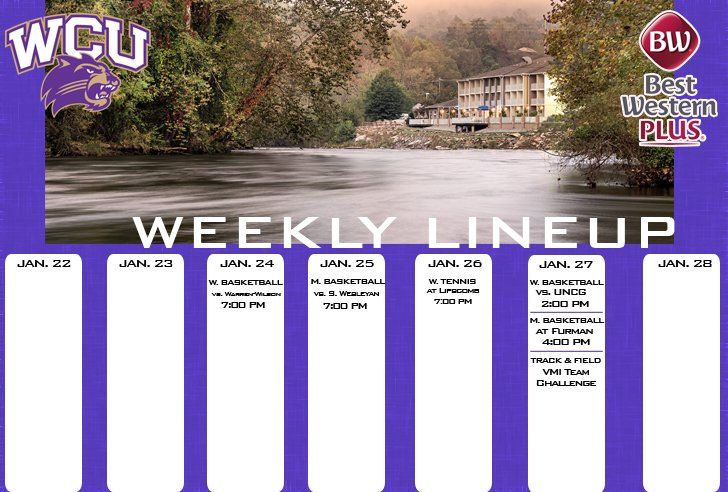 WCU Athletics Weekly Lineup (thru 1-28-18)