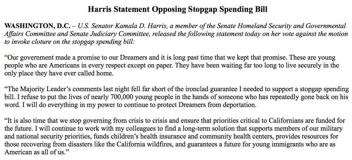 NEW: Sen. Kamala Harris on agreement reached with McConnell on future DACA legislation: 'I refuse to put the lives of nearly 700,000 young people in the hands of someone who has repeatedly gone back on his word.' https://t.co/bWc05eYv7T