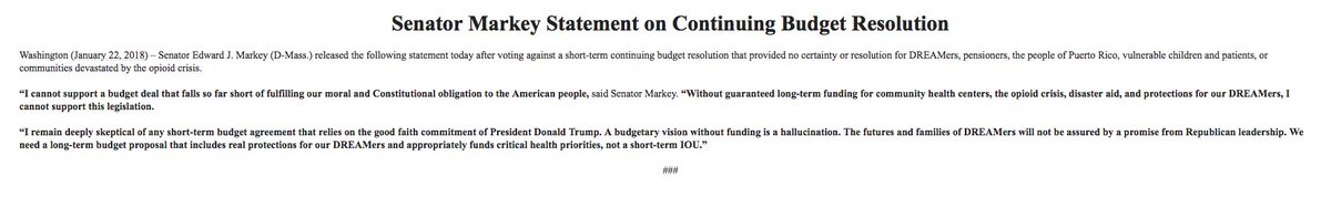 Senator Ed Markey: 'A budgetary vision without funding is a hallucination. The futures and families of DREAMers will not be assured by a promise from Republican leadership.""